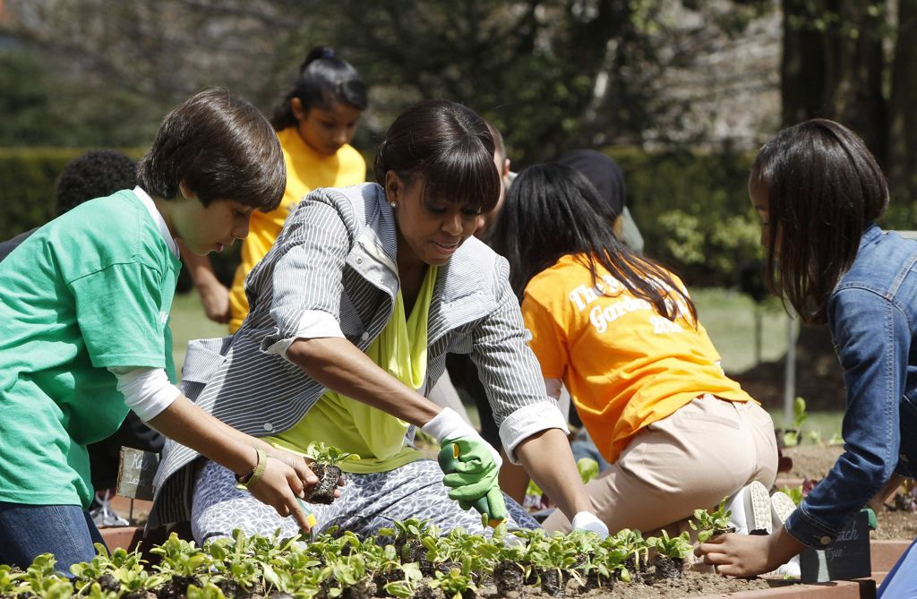 Michelle Obama Plants White House Garden