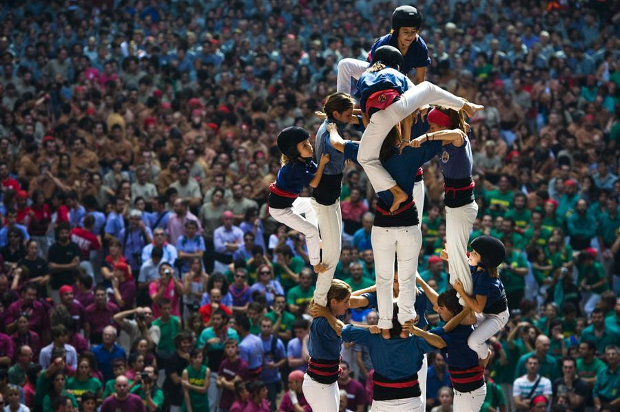 Human Tower Competition in Tarragona, Spain