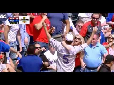 Woman goes crazy after boyfriend catches Ian Kinsler's foul ball