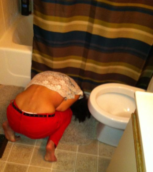 Passed out close to the toilet
