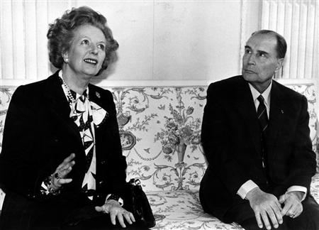 Thatcher and French President Francois Mitterrand