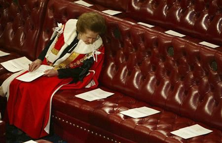 Britain's Baroness Thatcher reads the order of service