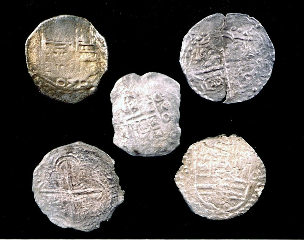 Five Mexico City and Peruvian silver coins