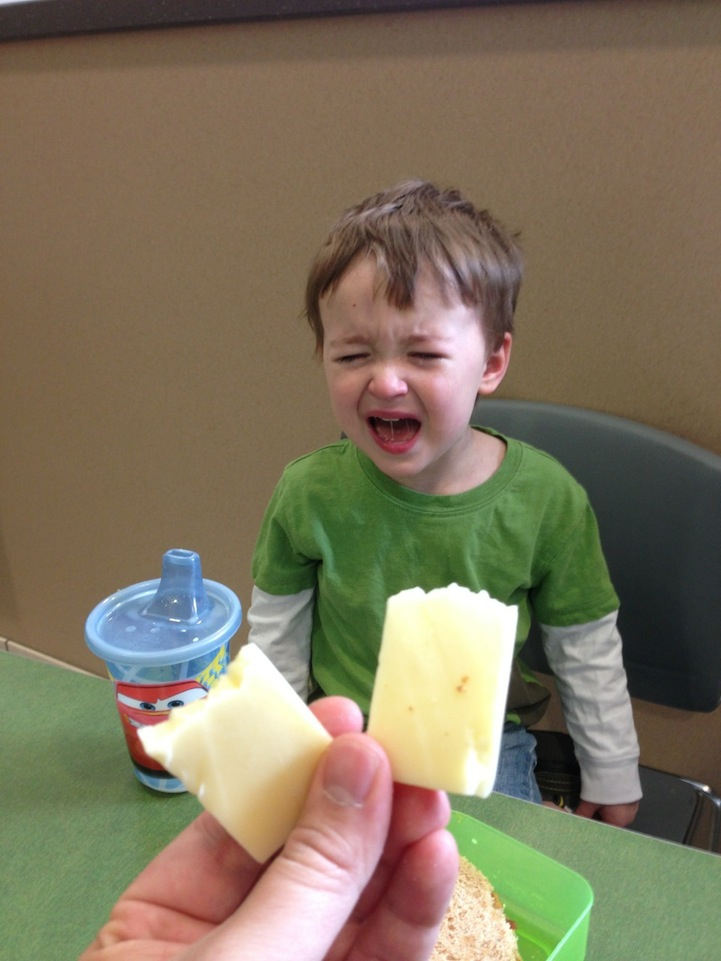 """I broke this cheese in half."""