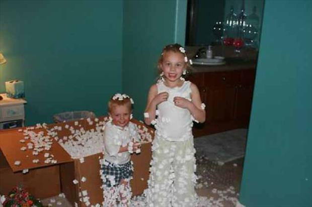 Styrofoam for Mommy and Daddy to Clean Up