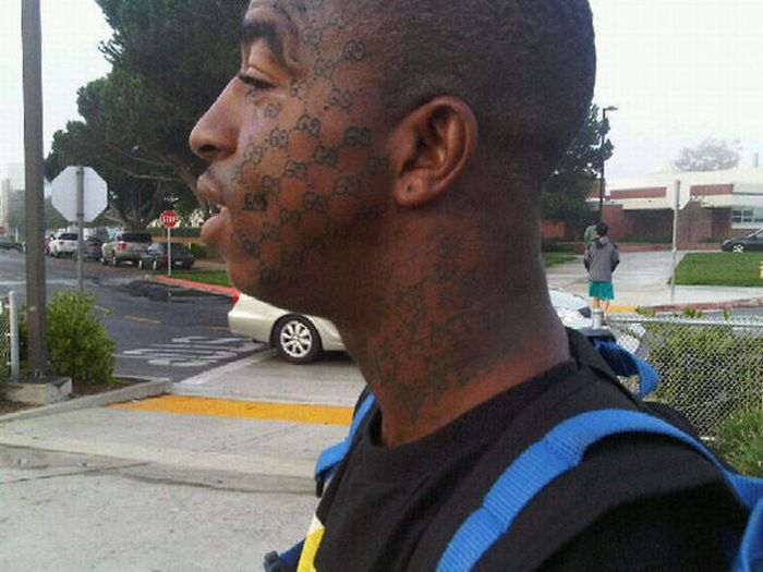 Tattoos all over the face