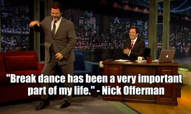 Nick Offerman Break Dances On Fallon, and is GLORIOUS