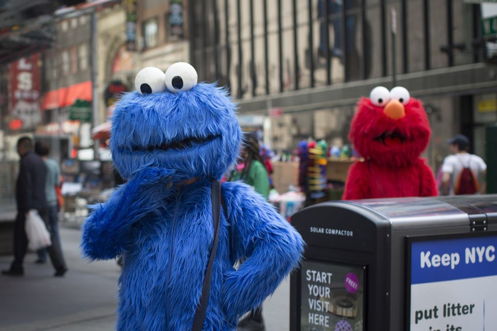 Cookie Monster and Elmo Posing