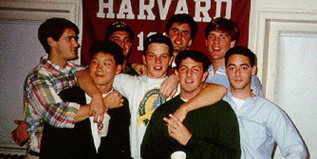 Matt Damon with pals at Harvard University, where he studied English before dropping out in 1992