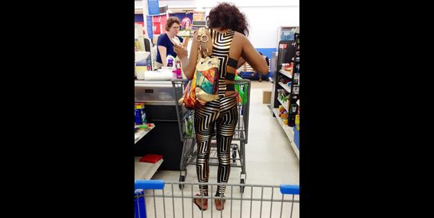 What is she wearing to the store