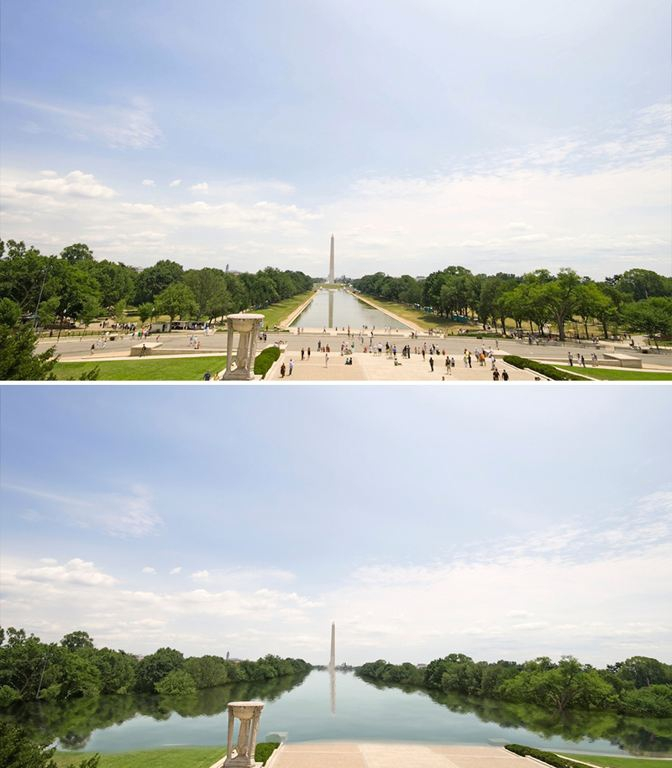 The mall in front of the Washington Monument