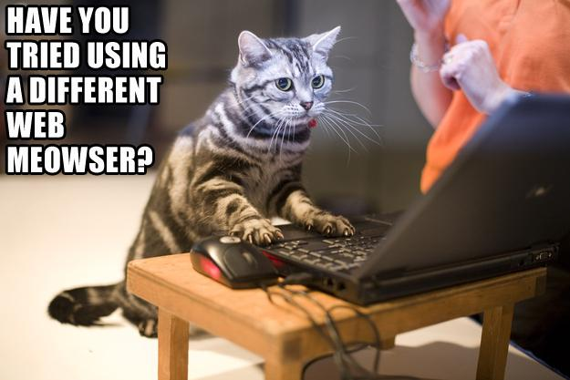Have you tried using a different web meowser?