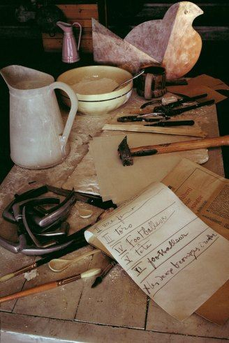 Picasso's workbench with notes, Mougins, France,