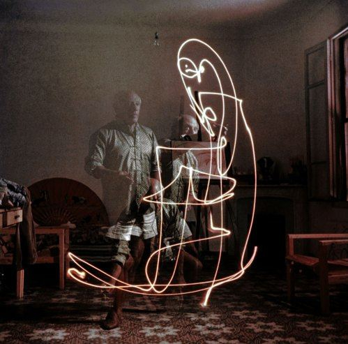 "Pablo Picasso ""draws with light,"" 1949"