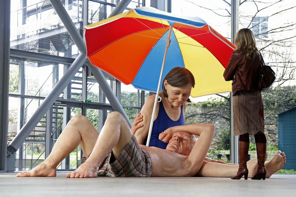 "sculpture entitled ""Couple Under an Umbrella, 2013"""