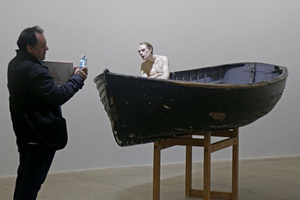 "a sculpture entitled ""Man in a Boat"""
