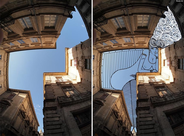 Creative Illustrations Cover The Sky Between Buildings