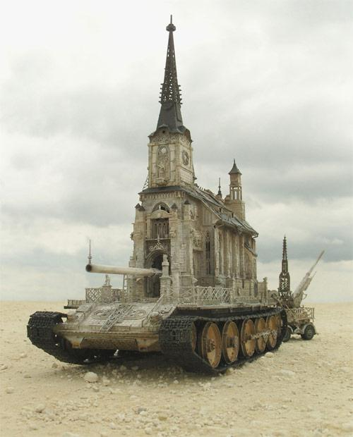 """Churchtanks"", sculptures by Kris Kuksi."