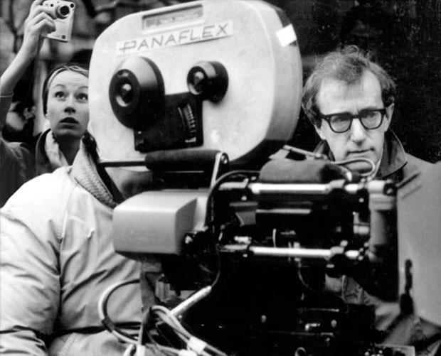 Borsi standing behind Woody Allen as he directs one of his films