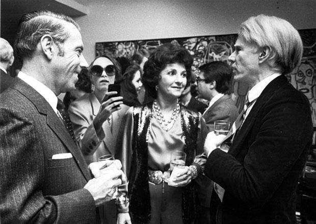 Borsi at a party with Andy Warhol