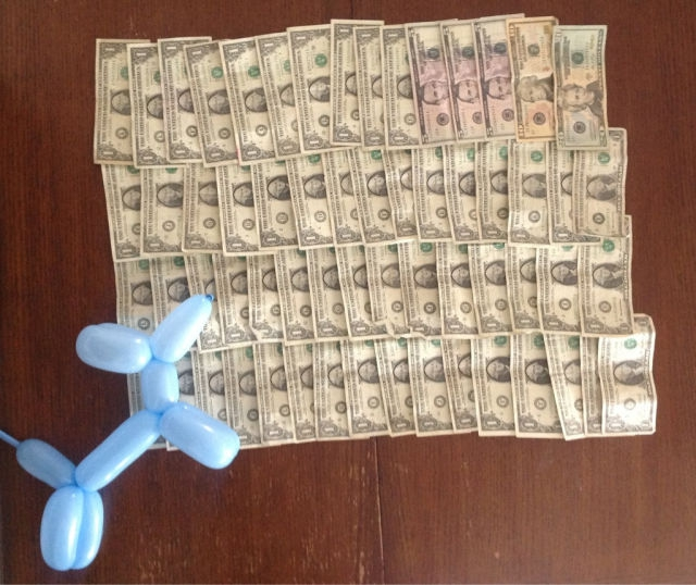 Cash earned by a balloon animals twister