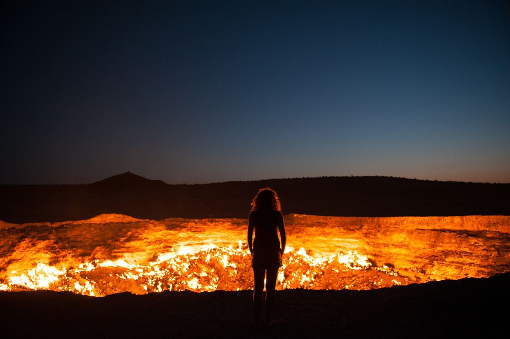 'Door to Hell' Standing at the edge of the Darvaza Crater in Turkmenistan.