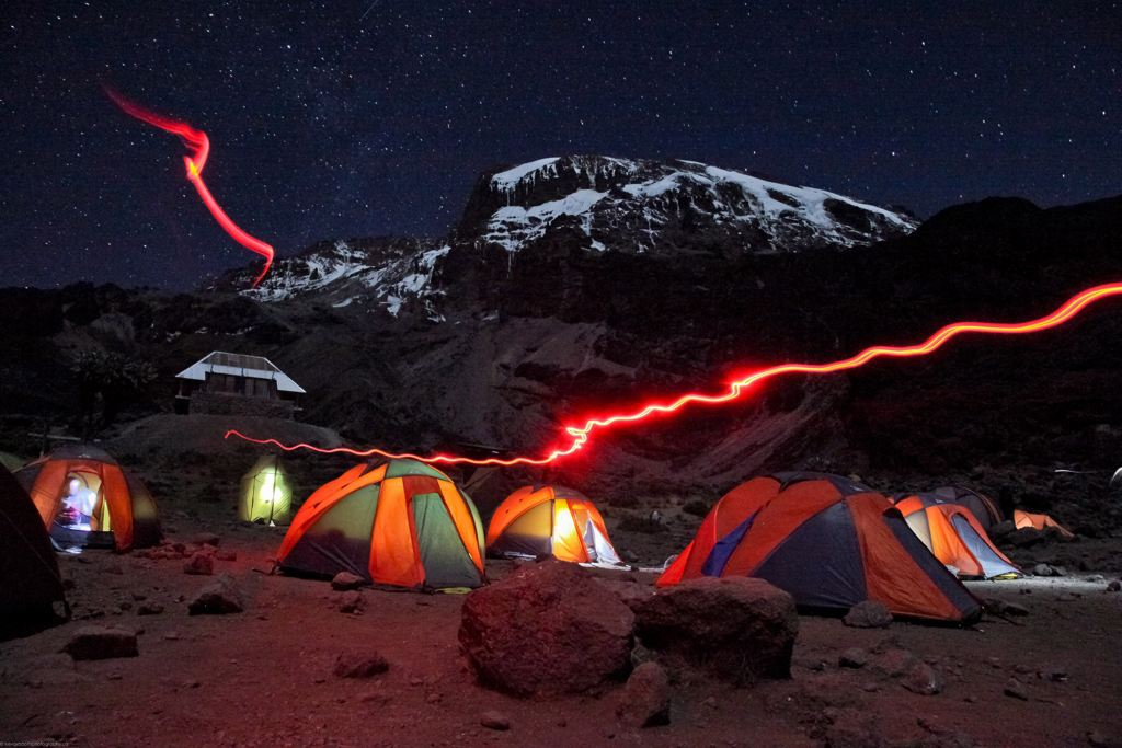'Barranco Camp at night, Kilimanjaro.'
