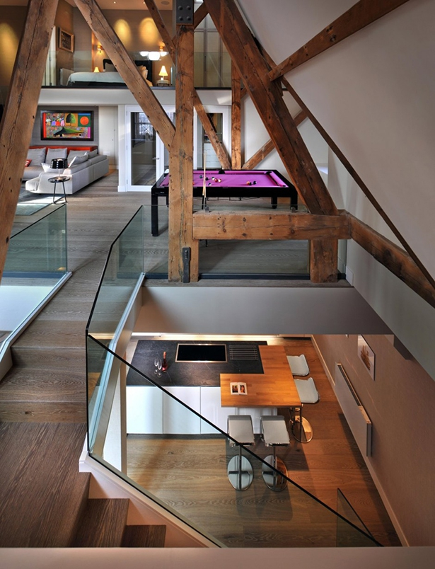 Pool Table and stair case