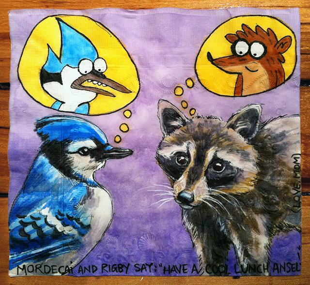 """Mordecai and Rigby from Regular Show with Blue Jay and Raccoon"""