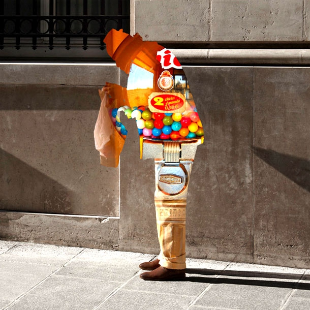 Curious Street Portraits Blended With Colourful Collages