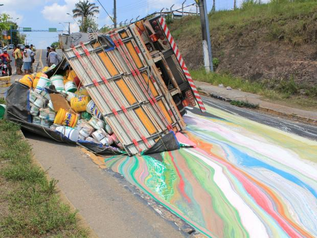 Truck with Paint Rolls Over and Colors The Road Beautifully