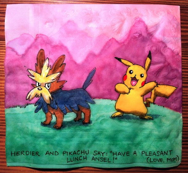 Talented Mom Creates Epic Napkin Art For Her Kids Lunch