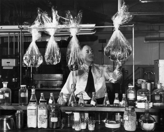 Dr. Hale Charch, a member of the team which invented moisture proof cellophane in his laboratory, c. 1927