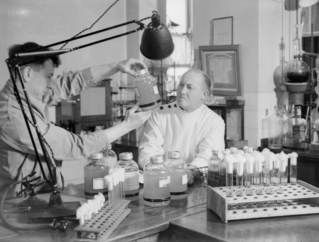 Plasma from American blood donors is being used during operations at British hospitals in World War II
