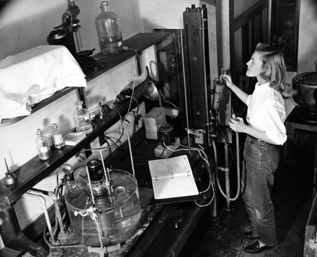 Unidentified student in a science laboratory, mid-1940s