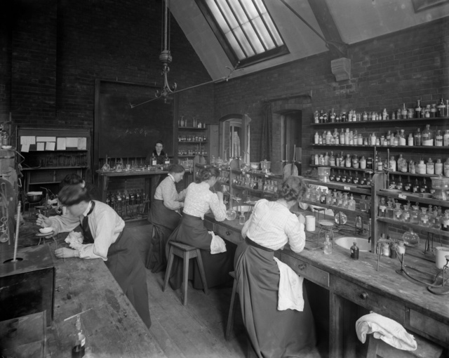 Female undergraduates at work in the laboratory at Girton College, Cambridge University, c. 1900