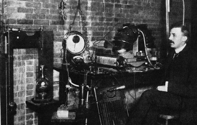 Rutherford in his lab at McGill, c. 1905