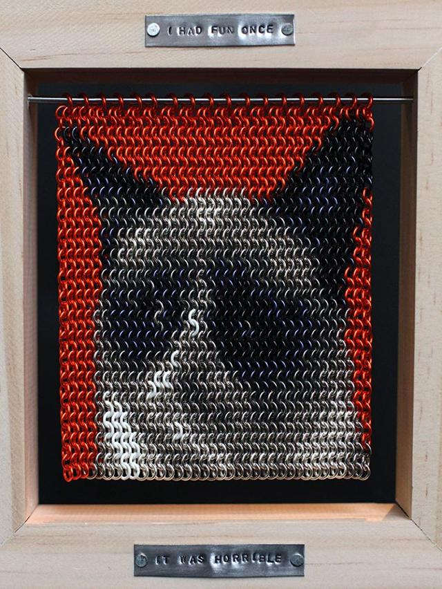 """Chainmaille Grumpy Cat"" by Erin Michael"