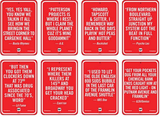 Famous Rap Lyrics Quoted On NYC Street Corners