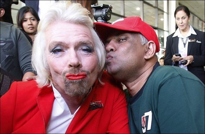 Richard Branson wore a full face of make-up for a flight