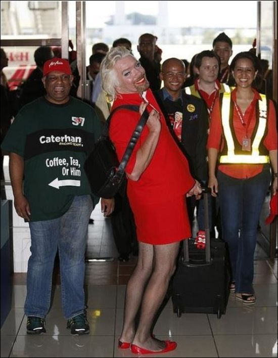The entrepreneur donned a red skirt suit for the special 6-hour flight