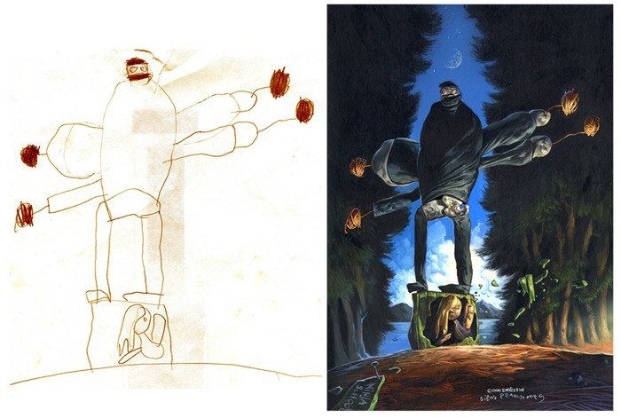 Children's drawings painted realistically