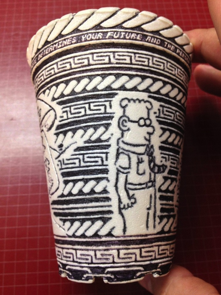 Incredibly detailed pen drawings on styrofoam cup