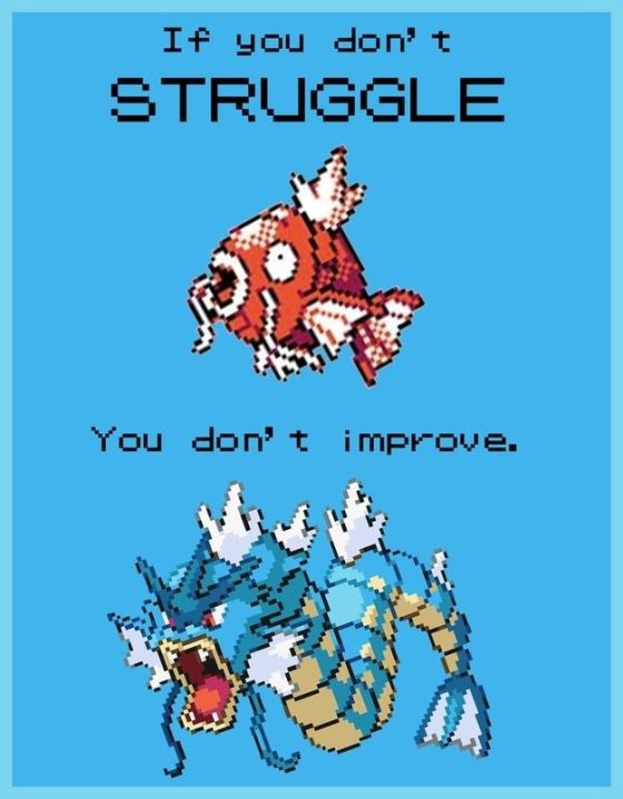 If you don't struggle, you don't improve.