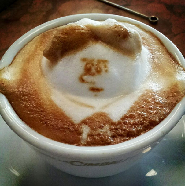Coffee foam man