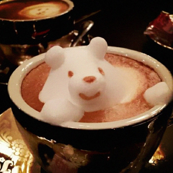 Coffee foam bear