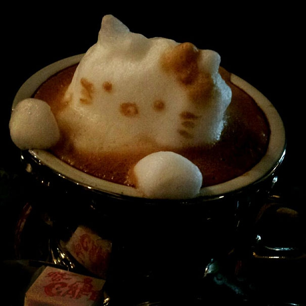 Coffee foam hello kitty