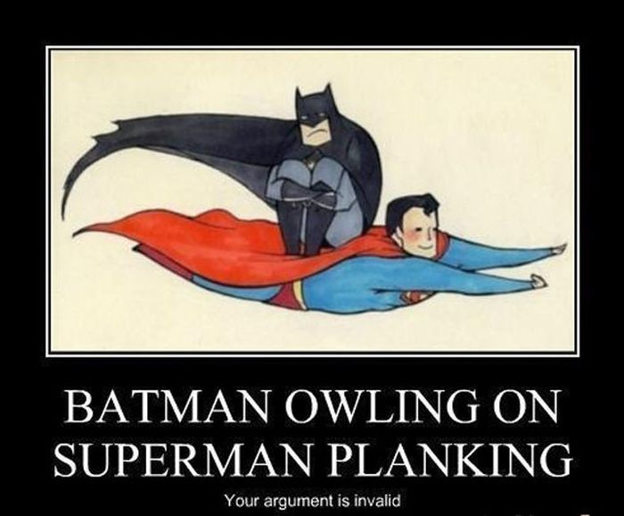 Batman owling on superman planking