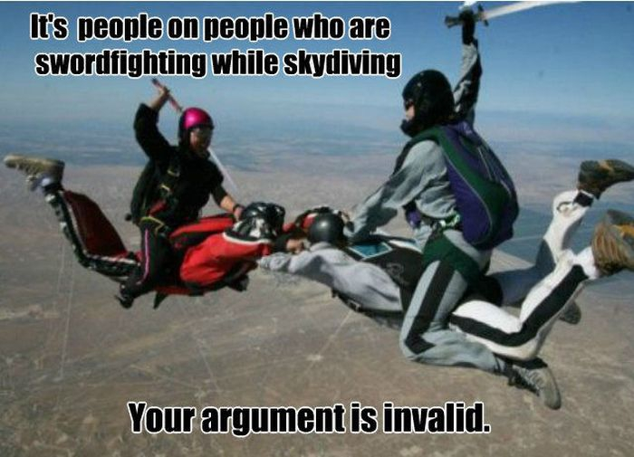 It's people on people who are swordfighting while skydiving