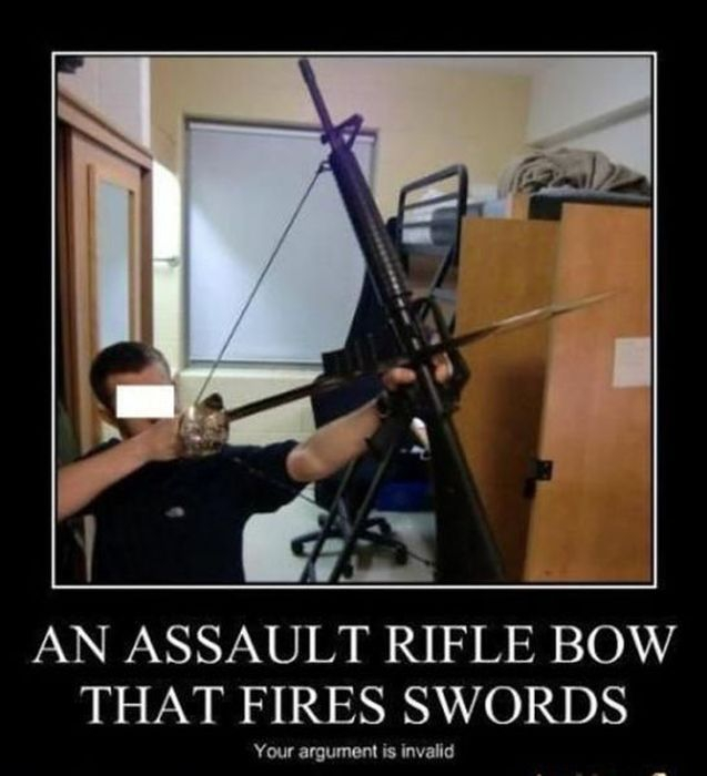 An assault rifle bow that fires swords